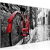Bilder Rot Graues Fahrrad Wandbild 150 x 60 cm Vlies - Leinwand Bild XXL Format Wandbilder Wohnzimmer Wohnung Deko Kunstdrucke Rot 5 Teilig - MADE IN GERMANY - Fertig zum Aufhängen 004756a