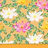 Soimoi Orange Heavy Canvas Stoff Leaves & Water Lily Floral