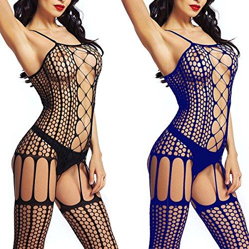 LOVELYBOBO 2-Pack Damen Unterwäschen Reizwäsche Netz Strumpfhose Bodystockings Hohle Blumen Frauen Bodysuit Nachtwäsche Dessous (schwarz+blau) (Netz-dessous)
