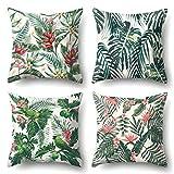 J-MOOSE 4 Pcs Housse De Coussin Tropical Plantes Imprimé Coton et Lin Chambre Salon Bureau Voiture Canapé Home Decor pour 45 x 45 cm (Tropical Plantes)