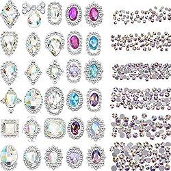 2000 Piezas de Diamante de Imitación de Espalda Plana de Color de 3D Cristal AB Gemas de Manualidades Arte de Uñas con 30 Gemas de Metal de Arte de Uña, Total 2030 Piezas