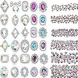 2000 Pezzi 3D Cristallo AB Colore Strass a Punta Piatta Unghie Arte Fai Da Te Mestieri Pietre Preziose con 30 Unghie Arte Metallo Pietre Preziose, Totale 2030 Pezzi
