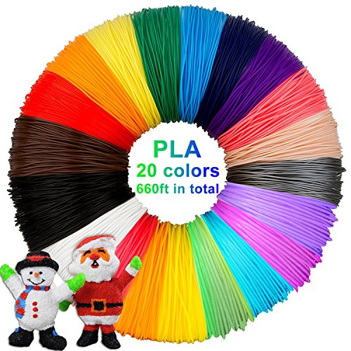 3D Stift Filament PLA, 20 Farben, je 10M – 3D Pen PLA Filament 1,75mm, 3D Stift Farben Set für PACKGOUT, MYNT3D, DeWang, 3D Stift and 3D Druck Stift