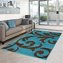 suchergebnis auf amazon.de für: design-teppich, braun-türkis, 80 ... - Wohnzimmer In Braun Und Turkis