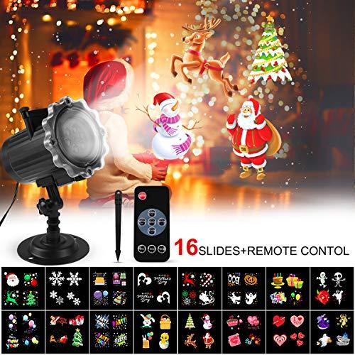 FOCHEA Proiettore Luci Natale LED, IP44 Faretti LED Illuminazione 16 Lenti Intercambiabili Esterno & Interno con Telecomando RF per Halloween, Natale, Matrimonio, Festa e Decorazioni da Giardino(D)