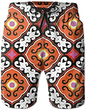 Funny Caps Awesome Ethnic Aztec Men's/Boys Casual Swim Trunks Short Elastic Waist Beach Pants with Pockets