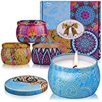 ARINO Scented Candles Gift Set 4pcs 120 Hours Burning Time Aromatherapy Candle Iron Pots Natural Wax Flavors of Rose Lemon Lavender Fig for Relax Sweet Dream and Clean Air