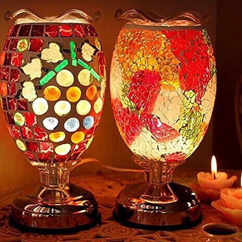 SBWYLT-Aromaterapia incienso quemador mosaico retro mesa lámpara mesa lámpara plug aceite boda dormitorio mesa lámparas cabecera lámpara