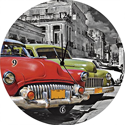 Artland Wand-Analog-Funk-Quarz-Uhr Digital-Druck auf Echt Glas mit Motiv rgbspace Ansicht von bunten Havanna Autos Fahrzeuge Auto Fotografie Rot A5OQ