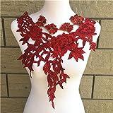 #7: Meet The World 1Pc Red Color Venise Lace Fabric Dress Applique Motif Blouse Sewing Trims DIY Neckline Collar Costume Decoration Accessories
