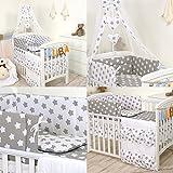 PRO COSMO 11 Piezas juego de ropa de cama para cuna de bebé cama edredón, dosel + soporte #19 (140x70cm, Estrellas grises)