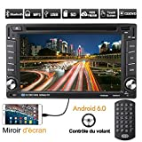 Autoradio 2 din GPS Universale MirrorLink Android 6.0 WIFI Touch Screen 6.2'' Radio FM/AM RDS DVD/CD/MP3/MP4/USB/Scheda SD Mappa Europea Multimédia Player Stéréo Autoradio Bluetooth con Telecomando