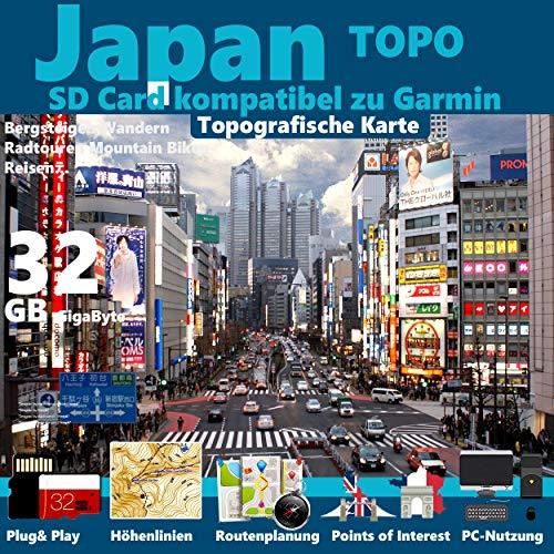 Japan Garmin Karte Outdoor Topo microSD. Topografische GPS Freizeitkarte für Fahrrad Wandern Touren Trekking Geocaching & Outdoor. für Garmin Navigationsgeräte, PC & MAC