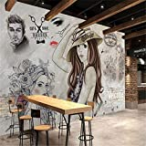 REAGONE Custom Wallpaper High Fashion Modern Fashion Hand Painted Beauty Shop Barber Background Wall Mural Photo 3D Wallpaper,350X245 Cm (137.8 By 96.5 In)