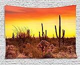 Funy Decor Saguaro Kaktus Wandteppich, Eve Sky in Western Dürre Land mit Kakteen und Unkraut der ganzen Dry Earth Decor Wandteppiche Wandbehang für Schlafzimmer Wohnzimmer Wohnheim, rot gelb 40x60 Inch stil 1