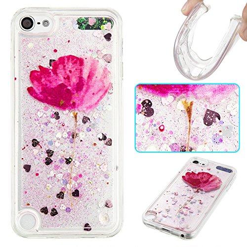 Ooboom® iPod Touch 6/5 Hülle TPU Silikon Bumper Schutzhülle Handy Tasche Case Cover mit Funkeln Glänzend Bling Glitter - Lila Blume (Lila Touch Case 4 Glitter Ipod)