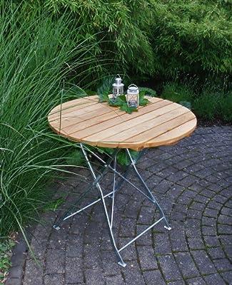Biergarten - Klapptisch 77cm rund, Flachstahl verzinkt + pulverbeschichtet, Holz Robinie