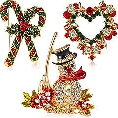 Idea Regalo - Boao 3 Pezzi Spilla di Natale in Cristallo di Strass, Spille Eleganti e alla Moda Ghirlanda di Pupazzo di Neve per Celebrazione della Festa