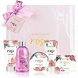Coffret de Bain & Douche pour Femme, Body&Earth 6 Pièces Coffret Cadeau au Parfum de Rose, Parfait Cadeau pour l'Anniversaire