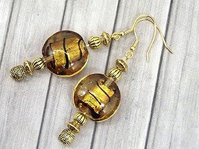 Boucles d'oreilles Venezia en acier inoxydable plaqué or avec perles plates dorées en verre de Murano