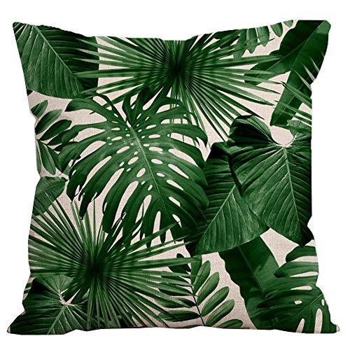 Kissen-abdeckung (IHRKleid Kissenbezüge Flachs Kissenhülle Drucken Grüne Blätter Tropische Pflanzen Kissen-Abdeckung Wohnaccessoires 45x45cm (Style1))
