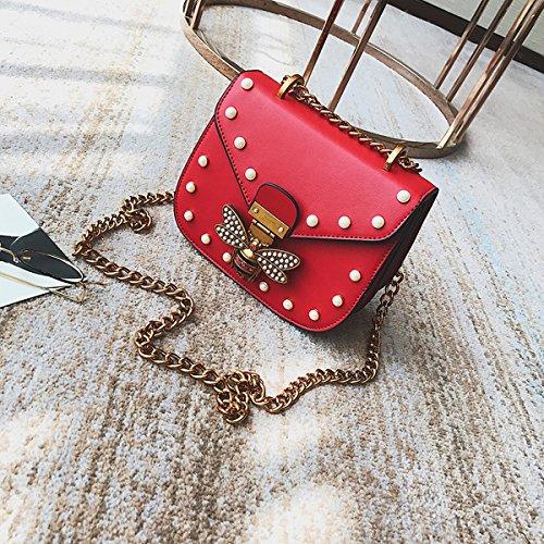 Weibliche Kette kleine quadratische paket mode Druck Schulter diagonale paket Rot