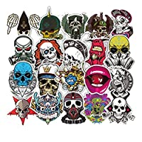 FineFun Skull Car Motorcycle Bicycle Skateboard Laptop Luggage Vinyl Sticker Graffiti Laptop Luggage Decals Bumper Stickers, 52 Pieces