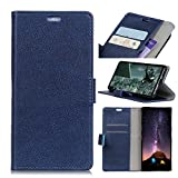 Wendapai Wiko Sunny 3 Plus Hülle, Prämie PU Leder Brieftasche Pouch Flip Hülle Anti-Scratch Defender HülleLeather Cases zum Wiko Sunny 3 Plus (Blue)