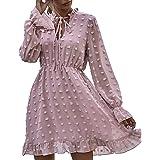 Pearl Angeli Mini abito da donna a maniche lunghe, in chiffon, lunghezza al ginocchio, per feste