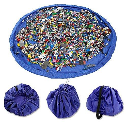 Time4Deals® Estera del juego y juguetes almacenamiento bolsa portátil de 60 pulgadas los niños organizan Picnic plegable Camping colchón bandolera (Azul)