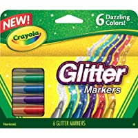 Crayola 588629 801593137070 Glitter Markers, 6 Count, Multi Colored, Pack of 1