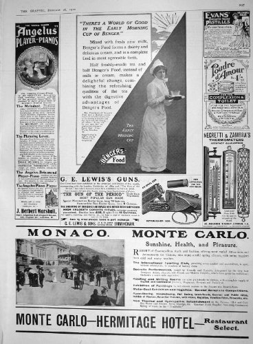 Antique Print of 1910 Advertisement Lewis Guns Monaco Monte Carlo Hermitage Hotel Marshall