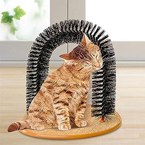Glanzzeit Chats Self Toilettage Scratch Arch Chaton Brosse Outil de nettoyage Poil Herbe à chat jouet