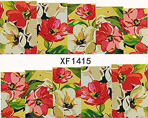 1 planche de Slider/Wrap/Full Cover Nail Stickers pour ongles, Hydrosoluble : XF de 1415 Fleurs