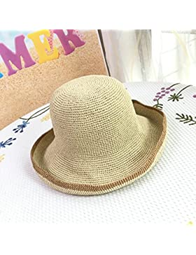 LVLIDAN Sombrero para el sol del verano Lady Anti-sol grande hecha a mano el lado ancho de la playa sombrero de...