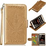 Huawei Y5 II Case,BONROY® Huawei Y5 II Maple leaf embossed pattern PU Leather Phone Holster Case, Flip Folio Book Case Wallet Cover with Stand Function, Card Slots Money Pouch Protective Leather Wallet Case for Huawei Y5 II