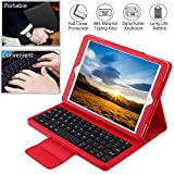 Wineecy Custodia Tastiera iPad PRO 9.7 / iPad Air 1 / iPad Air 2 / New iPad 9.7, Custodia in Pelle con Wireless Staccabile Tastiera(QWERTY) per iPad Air/iPad PRO 9.7/ iPad 9.7' 2017/2018 (Red)