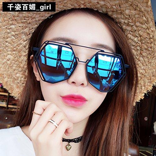 Die reflektierende Sunyan Sonnenbrille und eine große Kiste aus der Sonnenbrille Mädchen rundes Gesicht Tide, rote Sterne, personalisierte Gläser Lens, Black Box Eis Blau reflektierend