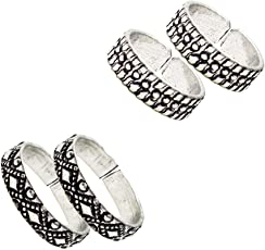 Frabjous Contemperory Plain Adjustable German Silver Toe Ring For Women - Pair Of 2