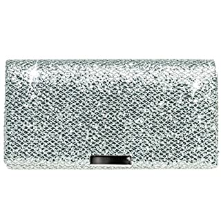 CASPAR TA342 Damen kleine elegante Glitzer Clutch Tasche Abendtasche, Farbe:silber;Größe:One Size