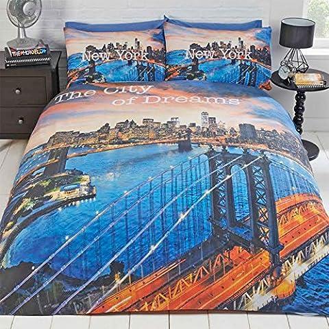 Just Contempo City Print Bettbezug Set, Blau (Blue Dream),