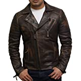 BRANDSLOCK Mens Genuine Leather Biker Jacket Slim Fit Cross Zip Retro Brando Vintage