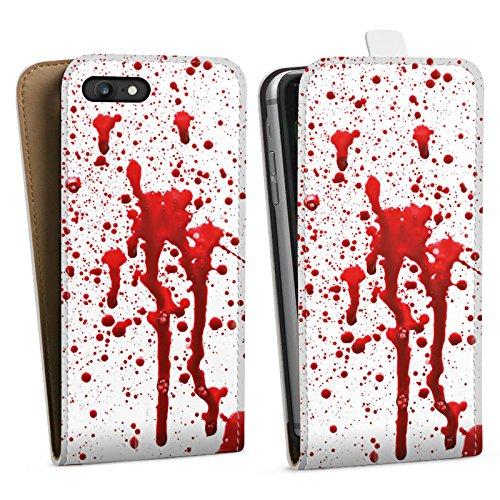 Apple iPhone X Silikon Hülle Case Schutzhülle Blut Halloween Gothic Downflip Tasche weiß
