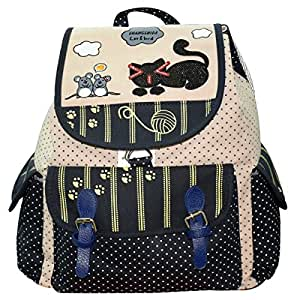 Trendyage New Girl's And Women's Canvas+Cotton College Backpack -Multicolour (Trndage0008)