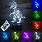 Luz de la noche 3D LED lámpara Ilusión óptica 3D Deco 7 colores cambian con control remoto, regalo de Navidad (dinosaurio)