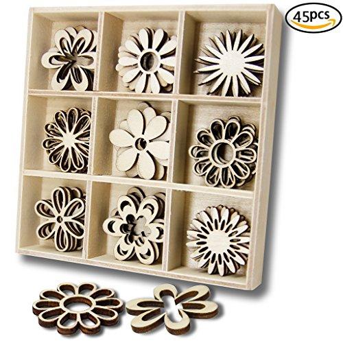 YuQi Holz Verzierungen Laser Cut Rohlinge Scheiben 45 Stücke Blumen Formen Natur Dekorationen für Kinder (Blume)