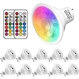 Lampadina GU10 RGB LED con Telecomando,faretto rgb Cambiare colore,5 Watt Equivalenti a 50 W,Bianco Fredda 6000k,12 Scelte di