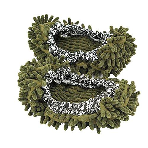 Aohro Multi-Function lavabile Dust Mop Pantofole in ciniglia fibra per pavimenti bagno, ufficio e cucina, Verde scuro