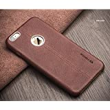 Vorson ® ecom324 Lexza Series Double Stitch Leather Shell with Metallic Logo Display Back Cover For Apple iPhone 6 / 6S ,(Brown)