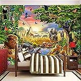 Wemall 3DCartoon Grassland Animal Lion Zebra Kinderzimmer Schlafzimmer Home Decor Wandmalerei, 350x245 cm (137.8 by 96.5 in)